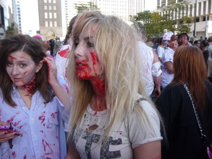 Picture from the zombie crawl. PhotoCo: https://c2.staticflickr.com/2/1112/5108869645_dd08e64073_b.jpg